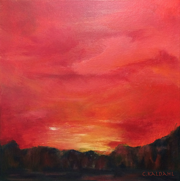 Crimson Sunset, acrylic painting by Cheryl Kaldahl