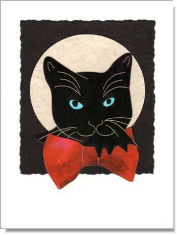 Cat with Bow Handmade Greeting Card ~ 1006