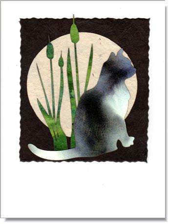 Cat and Cattails Moon Handmade Greeting Card