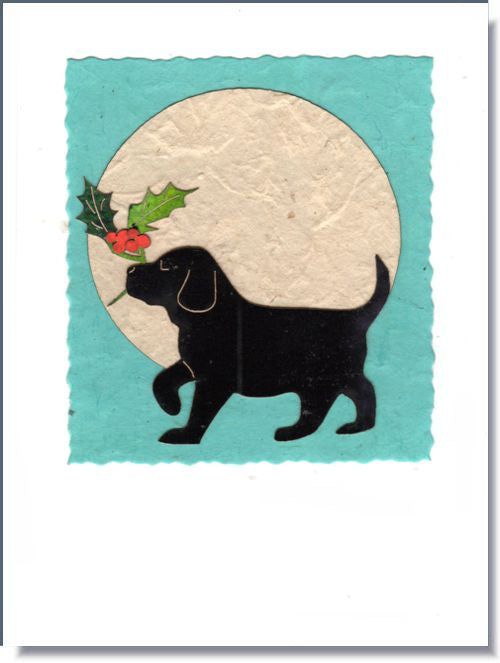 Puppy with Holly Moon Greeting Card ~ 1016