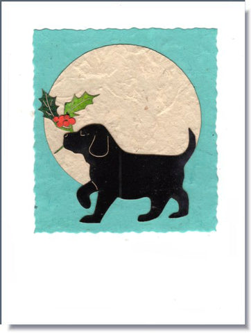 Holly Puppy Moon Greeting Card ~ 1043
