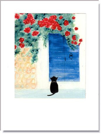 Cat at Blue Door handmade card