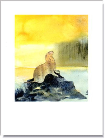Sea Otter on Rock Greeting Card ~ 1268