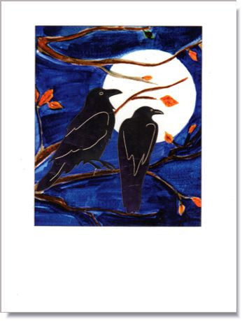 Crows Watching the Moon Greeting Card ~ 1269