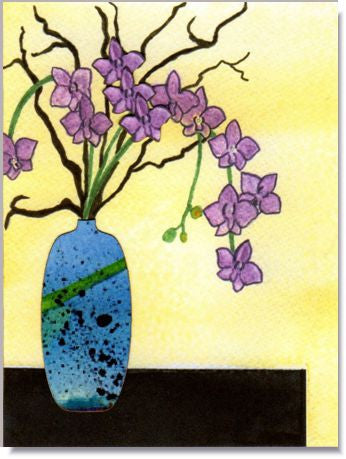 Blue Vase Handmade Greeting Card
