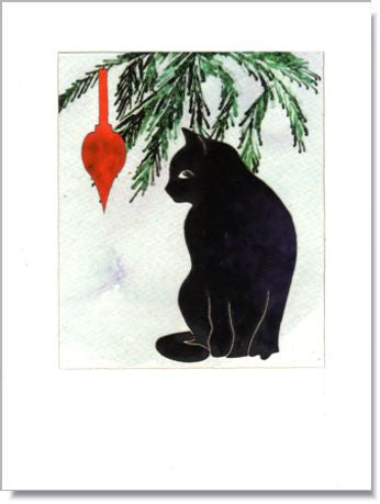 Cat with Ornament handmade greeting card