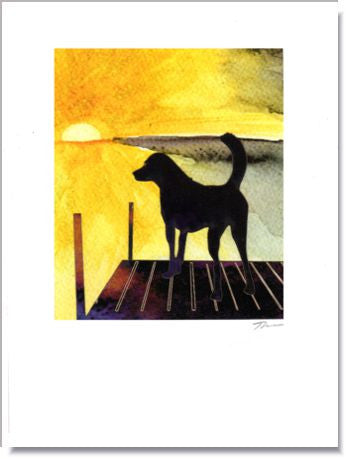 Dog on Dock by the Lake Greeting Card ~ 1278