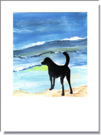 Dog at the Beach Greeting Card ~ 1283