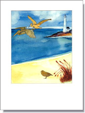 Pelican Lighthouse Greeting Card ~ 1287