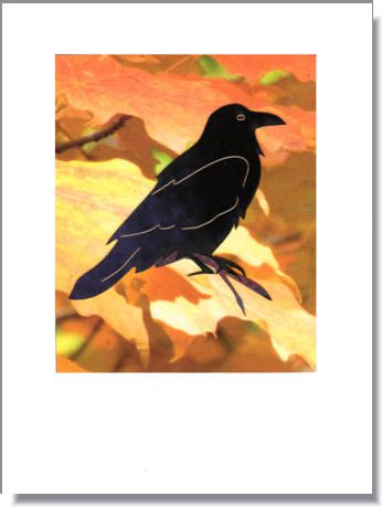 Black Crow among Maple Leaves Greeting Card ~ 1290