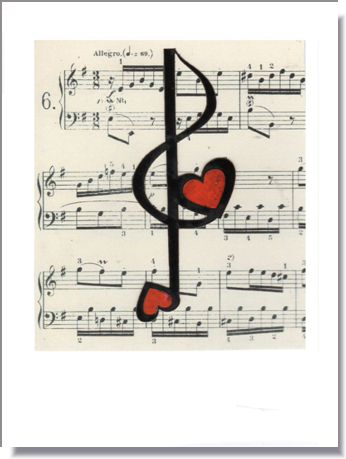 Musical Hearts Greeting Card ~ 1292