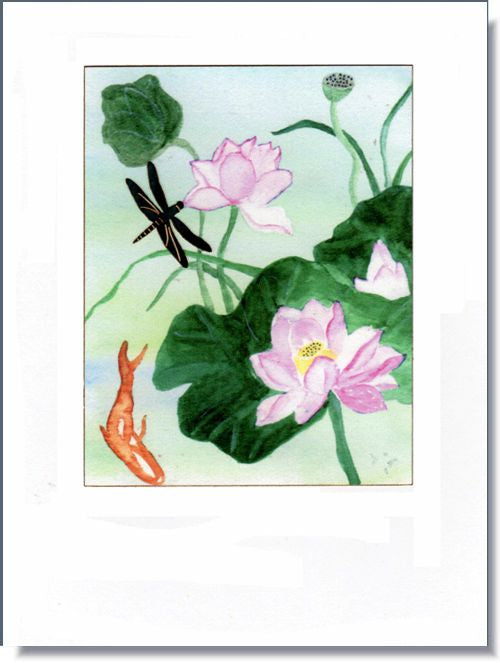 Lotus Flowers and Dragonfly Greeting Card ~ 1305