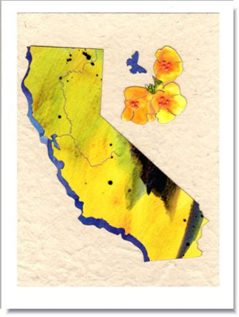 California Poppies Handmade Greeting Card