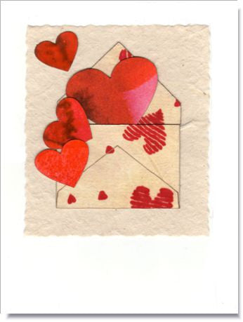 Leaping Hearts Envelope Greeting Card ~ 1610