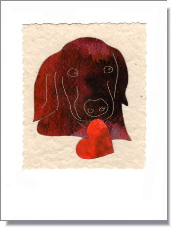 Chocolate Dog with Heart Greeting Card ~ 1611c