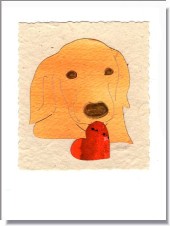 Golden with Heart Greeting Card ~ 1611g