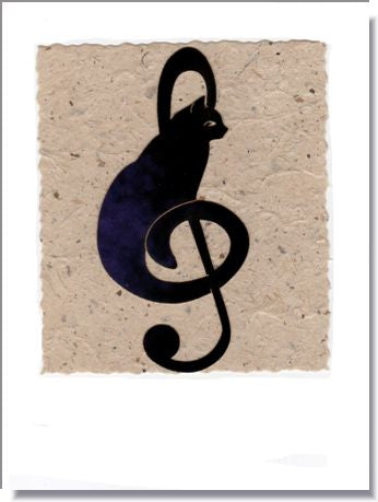 Musical Cat Handmade Greeting Card ~ 1642