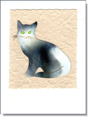 Green-eyed Cat Art Greeting Card