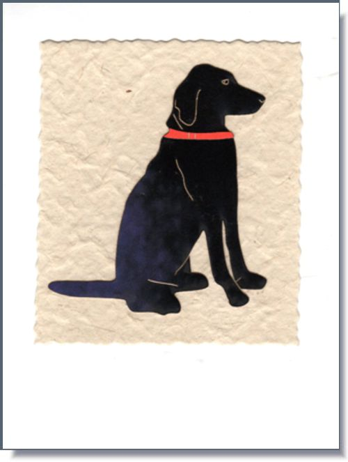 Black Labrador Art Greeting Card ~ 1660
