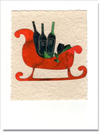 Sleigh and Wine Bottles Greeting Card ~ 735