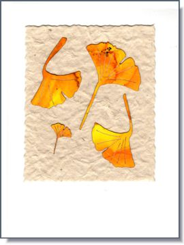 Fall Ginko Leaves Handmade Greeting Card ~ 738F