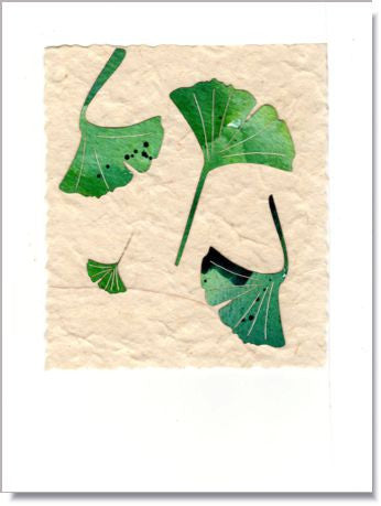 Summer Ginko Leaves Handmade Greeting Card ~ 738S