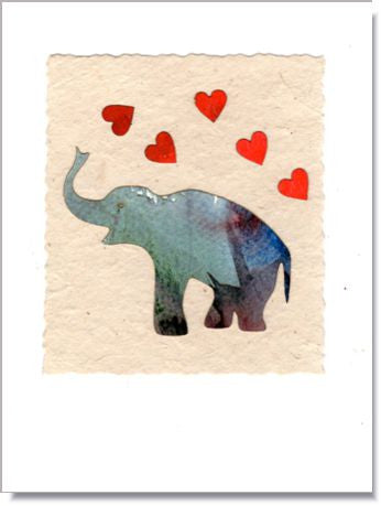 Elephant Heart Shower Greeting Card ~ 745