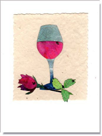 Wine and Rose Greeting Card ~ 750