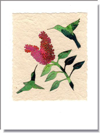 Hummingbirds and butterfly bush card