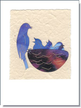 Bluebird with Young greeting card