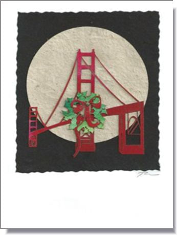 Wreath on the San Francisco Bridge Moon Greeting Card ~ 801