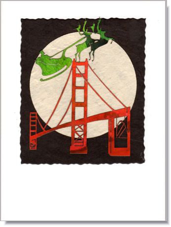 Santa and the Golden Gate Bridge Greeting Card ~ 802SF