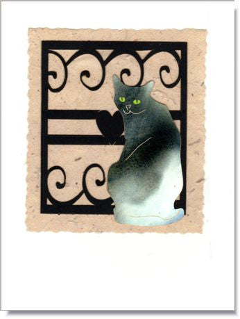 Cat at an Iron Gate Handmade Greeting Card ~ 817B