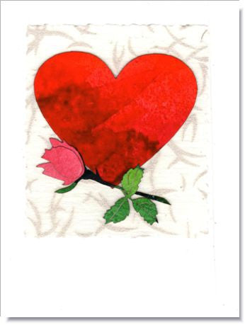 Heart & Rosebud Greeting Card ~ 821