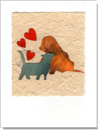 Puppy & Kitten Love Greeting Card ~ 824