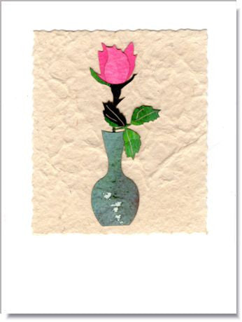 Rosebud in Vase Handmade Greeting Card ~ 831