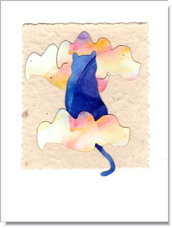 Heavenly Cat Handmade Greeting Card ~ 833