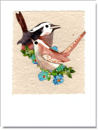 Wrens with Forget-Me-Nots Handmade Greeting Card ~ 844