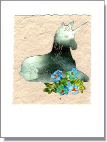 Unicorn with Flowers Handmade Greeting Card ~ 846