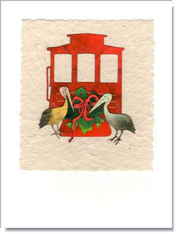 Cable Car and Pelicans Handmade Card