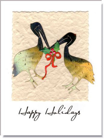 Holiday Pelicans Greeting Card ~ 864
