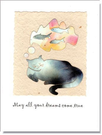 Dreaming Cat Handmade Greeting Card ~ 873