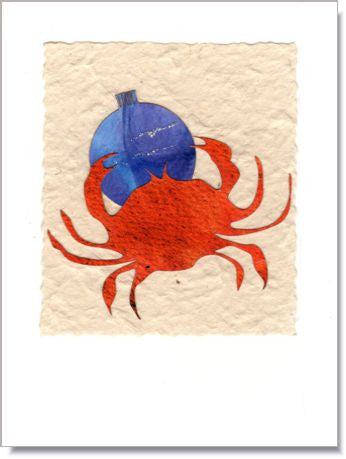 Crab and Holiday Ornament Greeting Card ~ 883