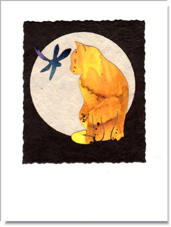 Cat Moon Handmade Greeting Card ~ 925