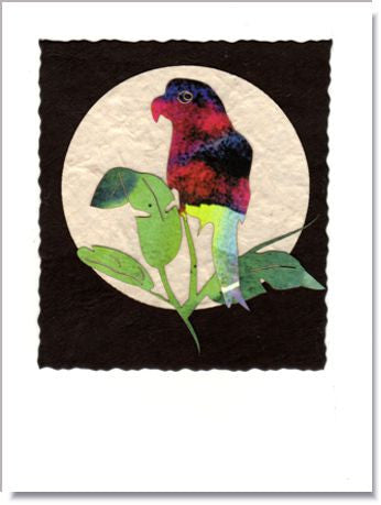 Parrot Moon Handmade Greeting Card ~ 935