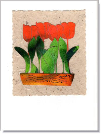 Pot of Tulips Greeting Card ~ 958