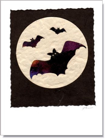 Bat Moon Handmade Greeting Card ~ 962