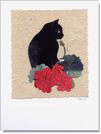 Geranium Cat Handmade Greeting Card ~ 978