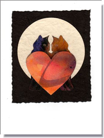 Cats & Hearts Moon Greeting Card ~ 990