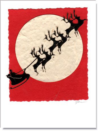 Santa Claus Moon Greeting Card ~ 994